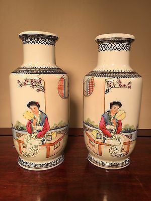 Fine Matched Pair of Republic Porcelain Vases Famille Rose Maidens