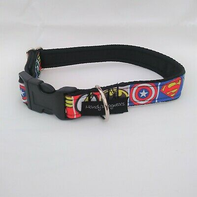 Superhero dog collar or lead batman, superman, wonder woman, green lantern