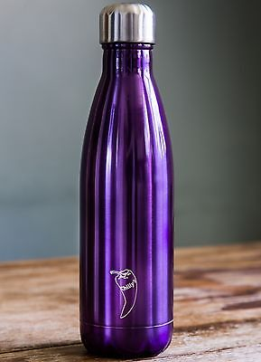 Chilly's Purple Shiny Thermal Vacuum Insulation Stainless Drinks Bottle 750ml