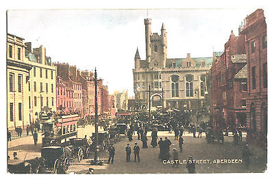 """Old Postcard Castle Street, Aberdeen. Posted 1904. The """"national"""" Series."""