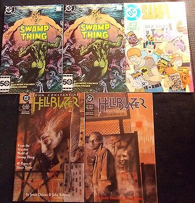 Constantine Lot: Hellblazer 1 NM-, 3, Swamp Thing 38(x2), DC Sampler #3 (Cameo)