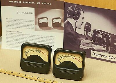 pair Western Electric dB Vu KS-8208 meters for 22 Mixer from 1940s