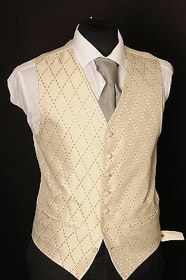 W - 1097.mens/boys Gold Diamond With Bronze Detail Wedding Waistcoat/ Dress