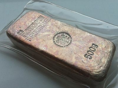  Extremely Rare Sealed Vintage German Heraeus 500G .999 Silver Bar