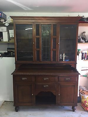 Large Antique Solid Oak Welsh Dresser and Display Cabinet