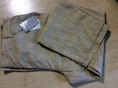 """Daily Sports Ladies Water Resistant Trousers Beige/blue Check Size 18 (29"""" Leg)"""