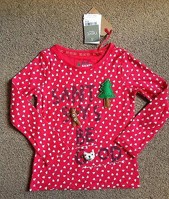 BNWT Next Girls Red Embellished Christmas T-Shirt Top Size Age 5 Years £12
