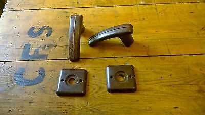 Reclaimed Pair Of Bakelite Door Handles Everite Art Deco 1930's Brown Backplates