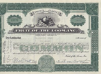 Fruit of the Loom, Inc. Stock Certificate, 1938