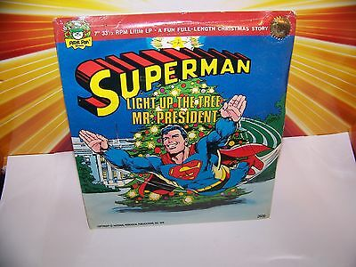 "Vintage Superman Record Light Up The Tree Mr President STILL SEALED 7"" 33 1/3"