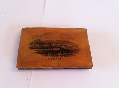 Mauchline Ware Needle Book - Comrie, Perthshire - wood from Aberuchill Castle