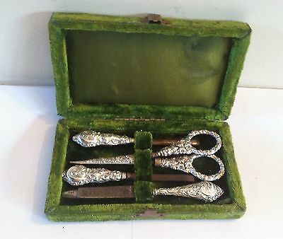 Edwardian Velvet Etui Necessaire with Solid Silver & Steel Contents - 1910