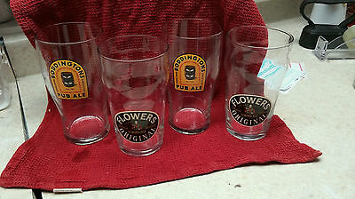 SET of  4 U.K.  BEER GLASSES  - 2 BODDINGTON'S PUB ALE & 2 FLOWERS STRONG ALE