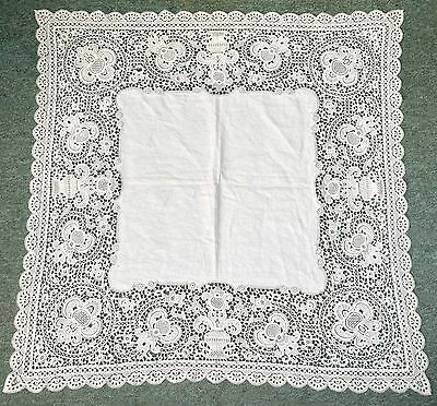 Vintage Tablecloth With Deep Fine Machine Bobbin Lace Brussels Lace