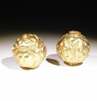 2 X Large Post Medieval Gold Beads - No Reserve!