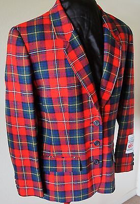 PENDLETON Red Plaid Virgin Wool Fitted Blazer Women's Lined Jacket, Ladies,USA