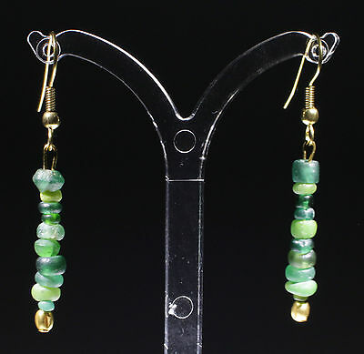 Ancient Roman Gold & Green Glass Bead Earrings - No Reserve!