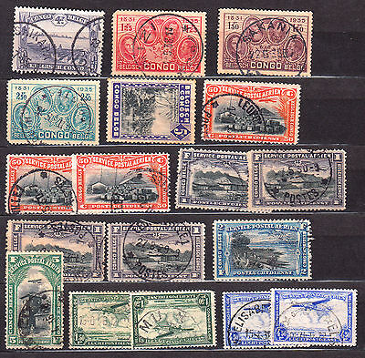 CONGO BELGE 1931 1935 AIR  18 timbres  belgian africa COLONIES