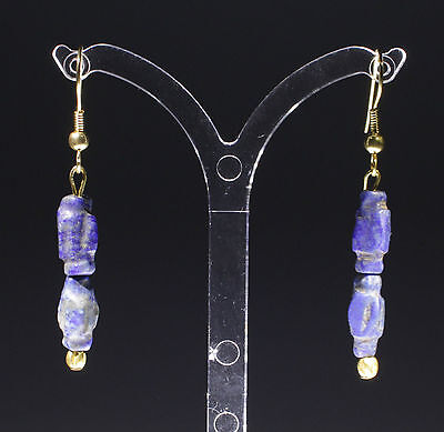 Ancient Roman Gold & Lapis Bead Earrings - No Reserve!