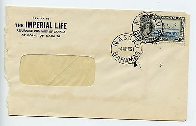 Bahamas cover used Nassau 1961 commercial Imperial Life (J920)