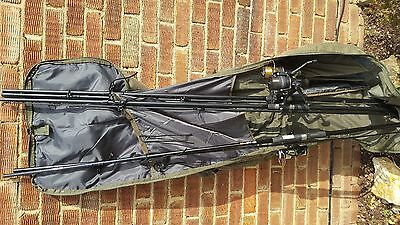 3 New Fishing Rods with reels and green bag for 5 rods