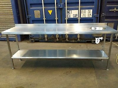 Stainless Steel Prep Table Catering Kitchen Table Hand Basin ON SOLID FRAME