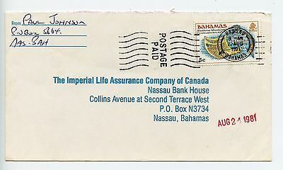 Bahamas cover used Nassau 1981 Postage Paid on franked cover (L042)