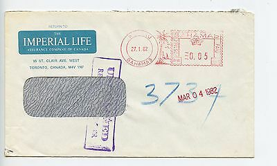 Bahamas cover used Nassau 1982 Imperial LIfe meter cancel returned (L043)