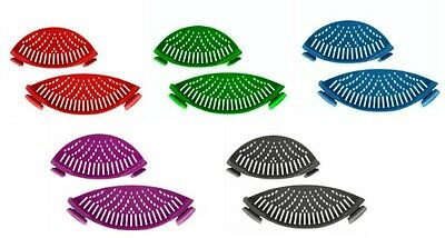 Silicone Pot and Pan Strainers with Clips Set of 2 Various Colors Brand New