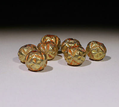 6 X Post Medieval Gold Beads - No Reserve!