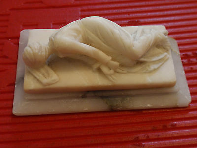 """Antique Hand Carved Marble Statue Of A Lady Lieing Down 3"""" X 5"""""""