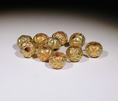 10 X Post Medieval Gold Beads - No Reserve!!