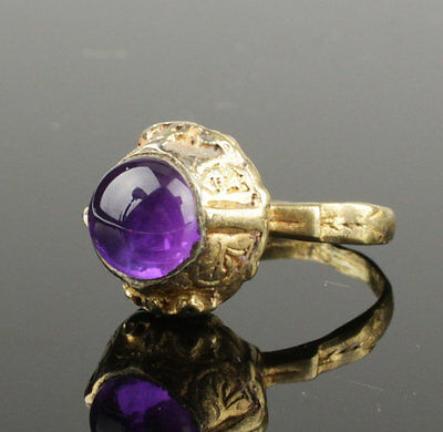 Beautiful Medieval Silver Gilt Ring With Amethyst - Circa 15Th C Ad No Reserve!