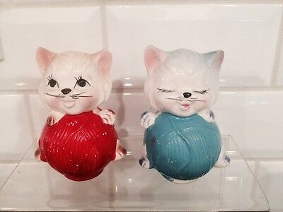Vintage Cat On Yarn Salt And Pepper Shakers