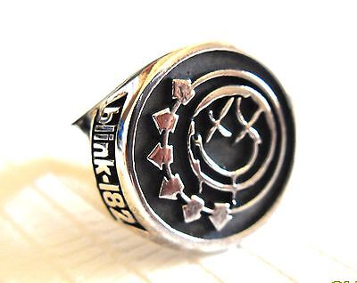 Solid Sterling Silver 925 Blink 182 Band Logo Ring