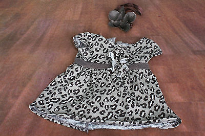 American Girl doll Leopard Print dress and flower hair band