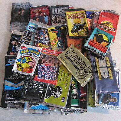 EMPTY TRADING CARD WRAPPERS : Huge mixed job lot 50+ : TV, Movies, Star Wars +++