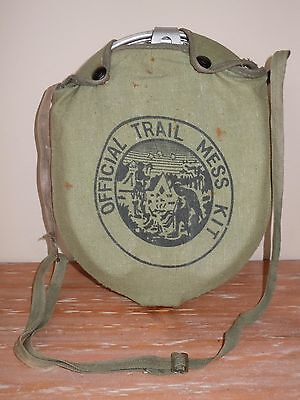 L@@k! ~Vintage~ 1966 Aluminum Regal Mess Kit Green Canvas Case Boy Scouts Army
