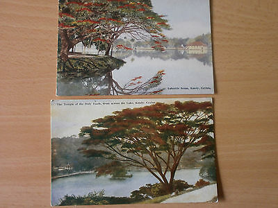 Vintage Postcards Lakeside Scene & Temple of the Holy Tooth, Kandy, Ceylon