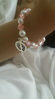 It's a girl braclet ~ doll clothes Reborn doll NB white & pink  beads