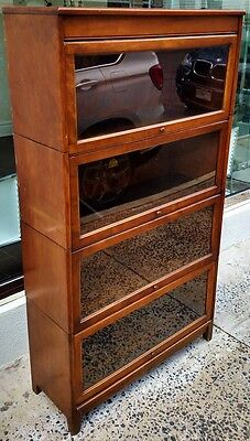 Antique GUNN Grand Rapids Lawyer SLIDE DOOR Glass Mahogany 4 STACK BOOKCASE NYC