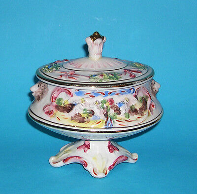 Vtg R.Capodimonte MAS Italian Four Footed Pedestal Lidded Bowl -Relief & Gilded.