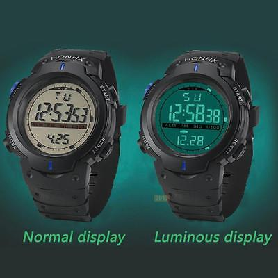 Outdoor Waterproof Men's Boy LCD Digital Stopwatch Date Rubber Sport Wrist Watch