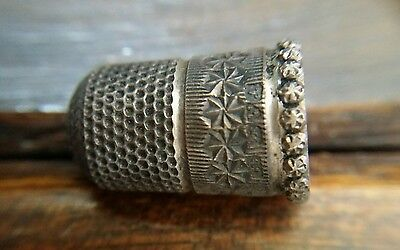 Antique Silver Thimble with Hallmarks Stamps Delicate