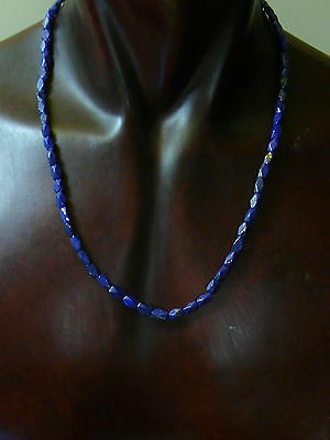 (T5) Lapis Lazuli  Hand Carved  Necklace  Old Beads Stoc Roman Egyptian style