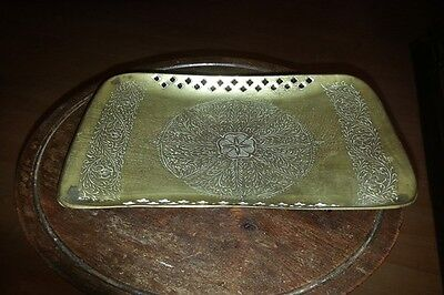 Small Pierced Brass Footed Indian Brass Decorative Tray/Receiver