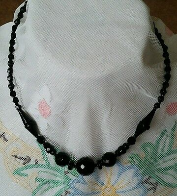 Black Jet? Glass? Victorian Mourning Beads Antique Necklace Round Unusual