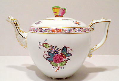 HEREND CHINESE BOUQUET MULTICOLOURED TEAPOT,BUTTERFLY LID,30 fl OZ,BRAND NEW BOX