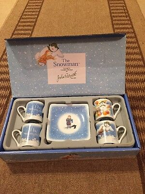 John Beswick The Snowman Set of Four Mini Cups and Saucers. New In Box.