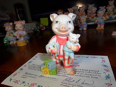 Bronson Collectibles Precious Pigs Boy Piggy In Pajamas With Teddy Pig